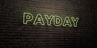 PAYDAY -Realistic Neon Sign on Brick Wall background - 3D rendered royalty free stock image. Can be used for online banner ads and direct mailers Royalty Free Stock Photography