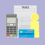 Payday and web transaction. Terminal credit card and tax form. Vector illustration Royalty Free Stock Photography