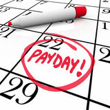 Payday Word Circled Calendar Income Wages Date Royalty Free Stock Photos