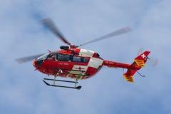 REGA Swiss Air Ambulance Eurocopter-Kawasaki EC-145 helicopter HB-ZRD. Payerne, Switzerland - September 7, 2014: REGA Swiss Air Ambulance Eurocopter-Kawasaki EC stock image