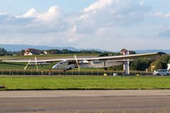 Solar Impulse 2 is a Swiss developed long range experimental solar powered aircraft with the registration HB-SIB. Payerne, Switzerland - September 8, 2014: Solar stock image