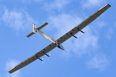 Solar Impulse 2 is a Swiss developed long range experimental solar powered aircraft with the registration HB-SIB. Payerne, Switzerland - September 8, 2014: Solar stock photography