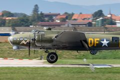 "World War II era Boeing B-17 Flying Fortress bomber aircraft ""Sally B"" G-BEDF. Payerne, Switzerland - September 4, 2014: World War II era Boeing B-17 royalty free stock photography"