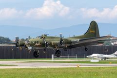 "World War II era Boeing B-17 Flying Fortress bomber aircraft ""Sally B"" G-BEDF stock photo"