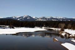 Payette-Fluss im Winter stockbild