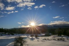 Payette River in winter at Cascade, ID stock photos
