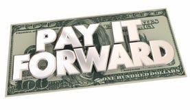 Payez-lui la générosité en avant de part de mots d'argent d'argent liquide Photographie stock libre de droits