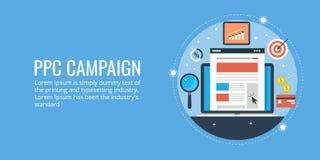 Payez par concept de clic, PPC font campagne, publicité en ligne, ordinateur portable, cible, bénéfice Illustration Stock