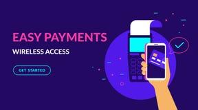 Payez par la carte de crédit sans fil et l'illustration au néon de vecteur plat facile le web design d'ux d'ui illustration de vecteur