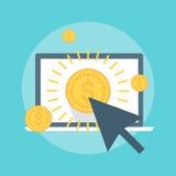 Payez par style plat de clic, coloré, icône Photos libres de droits
