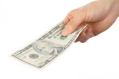 Payez U S 10 billet d'un dollar Images stock