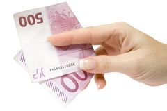 Paying 500 Euro stock photography