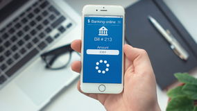 Paying bill on app on bankingthe smartphone stock video footage