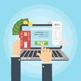 Paying bill online. Hands with laptop. Credit card, money and coins, bill papers Stock Images