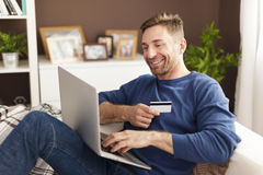Paying bills by credit card Stock Image