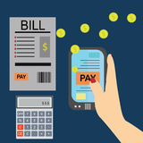 Paying bills, hand holding bills .Calculator icon and . Royalty Free Stock Photos