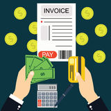 Paying bills and invoices, hand holding money . Royalty Free Stock Photo