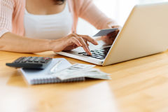 Paying bills online Royalty Free Stock Photo
