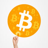 Paying With Bitcoin Currency Stock Photo