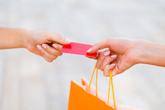 Paying With Card After Shopping Royalty Free Stock Photo