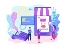 Paying by card using a mobile phone. Online shopping concept, paying by card using a mobile phone. Card payment POS terminal. Vector illustration for web and vector illustration