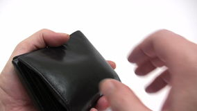 Paying Cash Down. Man showing various Euro banknotes in his black leather wallet. Canon HV30. HD 16:9 1920 x 1080 at 25.00 fps. Progressive scan. Photo JPG stock video
