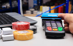 Paying with contactless credit card, NFC technology Royalty Free Stock Images