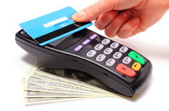 Paying with contactless credit card, NFC technology Royalty Free Stock Photo