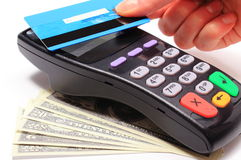 Paying with contactless credit card, NFC technology Stock Photography