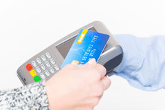 Paying with contactless credit or debit card Stock Photo
