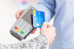 Paying with contactless credit or debit card Stock Image