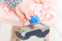 Paying with contactless credit or debit card Royalty Free Stock Photography