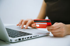 Paying with credit card online Stock Photos