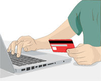 Paying with credit card online. Persons making purchases on the Internet paying with a credit card royalty free illustration