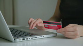 Paying credit card online stock video footage