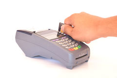 Paying credit card. On White Background Royalty Free Stock Image