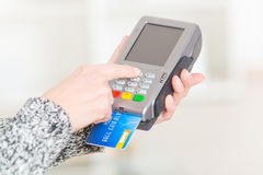 Paying with credit or debit card Stock Photography