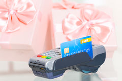 Paying with credit or debit card for a gifts Stock Image