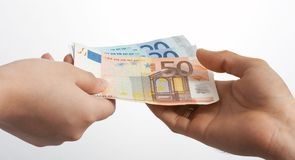 Paying euros Royalty Free Stock Image