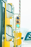 Paying highway road toll Royalty Free Stock Image