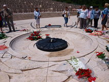 Paying homage, Monte Cassino, Italy Stock Photo