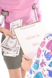 Paying for medical bills. Isolated on a white background Royalty Free Stock Photos