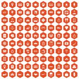 100 paying money icons hexagon orange Stock Photos