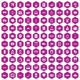100 paying money icons hexagon violet. 100 paying money icons set in violet hexagon isolated vector illustration Royalty Free Illustration