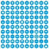 100 paying money icons set blue. 100 paying money icons set in blue hexagon isolated vector illustration Royalty Free Illustration