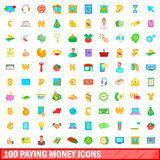 100 paying money icons set, cartoon style. 100 paying money icons set in cartoon style for any design vector illustration Stock Photos