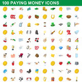 100 paying money icons set, cartoon style Royalty Free Stock Photography