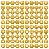 100 paying money icons set gold. 100 paying money icons set in gold circle isolated on white vector illustration vector illustration