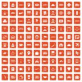 100 paying money icons set grunge orange. 100 paying money icons set in grunge style orange color isolated on white background vector illustration Royalty Free Stock Image