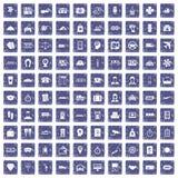100 paying money icons set grunge sapphire. 100 paying money icons set in grunge style sapphire color isolated on white background vector illustration Stock Image